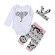 Hot ! Yang-Yi Fashion Newborn Toddler Baby Boys Girls Elephant Romper Pants 3pcs Set (90cm/18M, White)