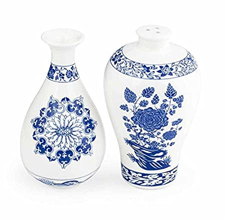 kikkerland ming vase salt and pepper shakers bluewhite set of 2 - Ming Vase