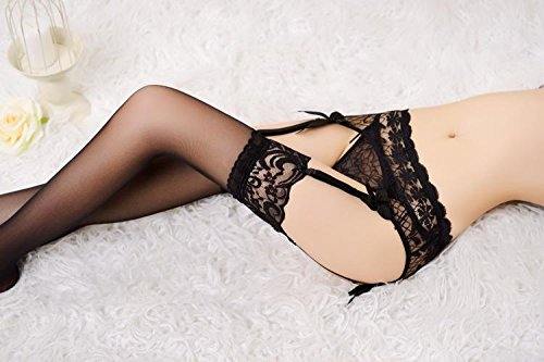 Mismxc Womens 3 Pieces Lace Garter Belt Stockings Sets with Butterfly Panty