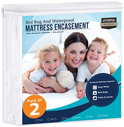 Utopia Bedding Zippered Mattress Encasement – Bed Bug Proof (Pack of 2, Twin)