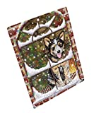 Please Come Home For Christmas Australian Cattle Dog Sitting In Window Art Portrait Print Woven Throw Sherpa Plush Fleece Blanket (60x80 Fleece)