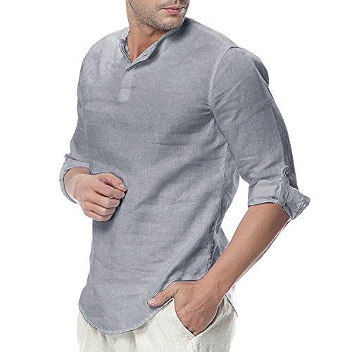 4ac6a3d030f Pengfei Mens Henley Shirts Linen Cotton 3 4 Sleeve Summer Casual Beach T- Shirts