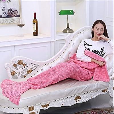 La petite sirène de l'enfant couverture couvertures de la queue de poisson sirène sirène coral couvertures en molleton tricot adultes,180cm*90cm,Pink