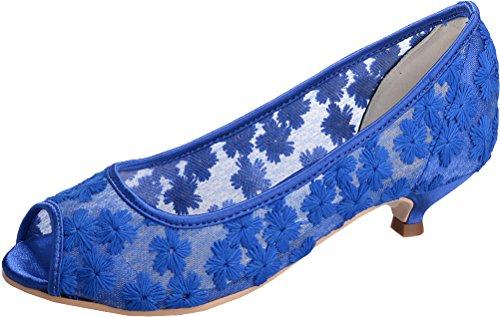Blue Party Wedding Bride Toe Flats Comfort Dress Comfort Pumps Work Bridesmaid Salabobo Peep 12 2046 Prom Ladies Lace gw8qWpTnY