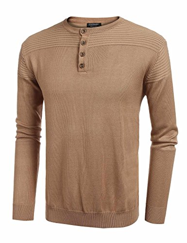 (COOFANDY Men's Slim Fit Ribbed Henley Knitted Pullover Sweater)