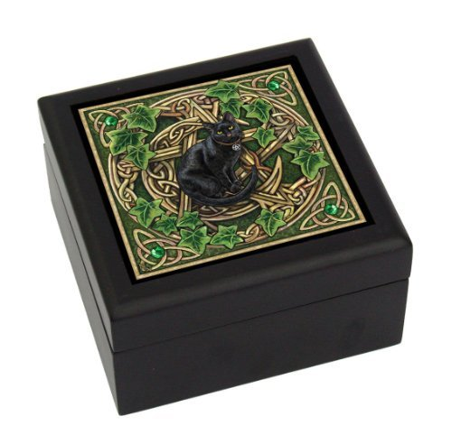 PTC 5 Inch Pentagram Cat Inlayed Tile Square Jewelry/Trinket Box Figurine