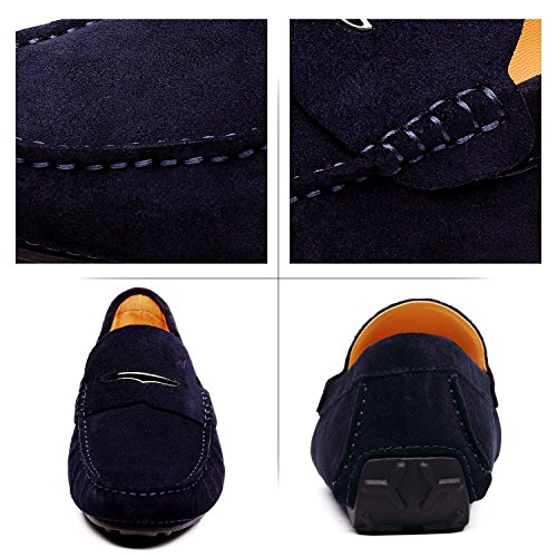 Oscuro de Shenduo Verano Mocasines Loafers Hombre Mocasines Cuero Planos Zapatos Azul para Zapatos Hombre Casuales wCCqFInUS6