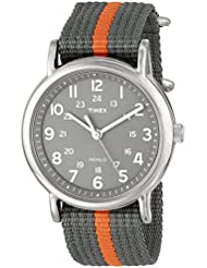 Timex Unisex T2N649 Weekender Watch with Gray and Orange Nylon Strap