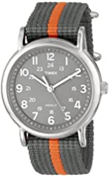 """Timex Unisex T2N649 """"Weekender"""" Watch with Gray and Orange Nylon Strap"""