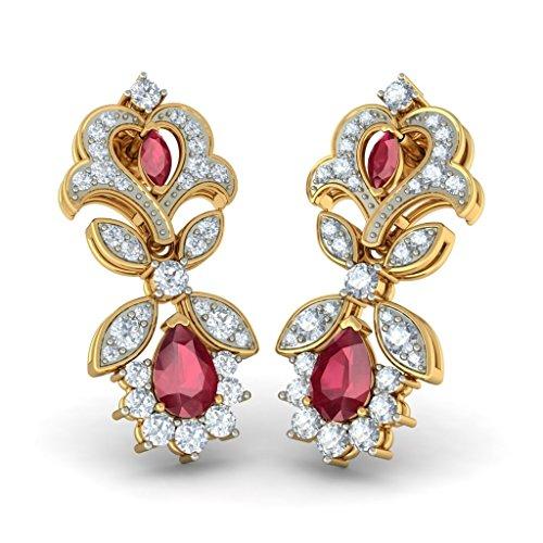 Or jaune 14K-CT TW White-diamond (IJ | SI) et rubis Boucles d'oreille