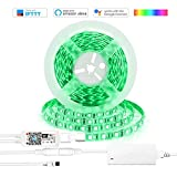 WiFi LED Strip Lights, 5M 300LEDs RGB 5050 Light Kit, Multi-color Dimmable Flexible Rope Lighting Work with Alexa Echo Dot, Compatible with Google Home Mini Assistant IFTTT, Via Android Ios Smart Devices Phone App Controlled (Waterproof)