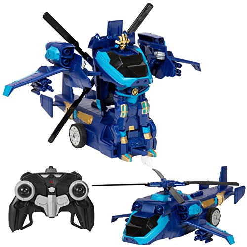 Best Choice Products Toy Transformer Tank Helicopter Remote Control RC Robot w/ USB Charger - Blue Toys Radio Controlled Helicopters