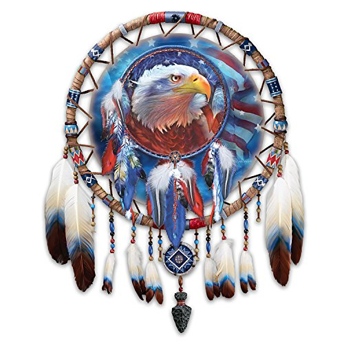 Carol Cavalaris Eagle Art Wall Decor with Leather Centerpiece and Real Feather by The Bradford Exchange by Bradford Exchange