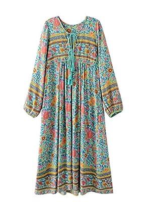 R.Vivimos Women's Long Sleeve Floral Print Retro V Neck Tassel Bohemian Long Midi Dresses