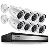 ZOSI 720p 16 Channel Security Camera System,720p HD-TVI CCTV DVR Recorder and 8PCS 1280TVL Outdoor Cameras Surveillance with Infrared and Night Vision (No Hard drive Included)