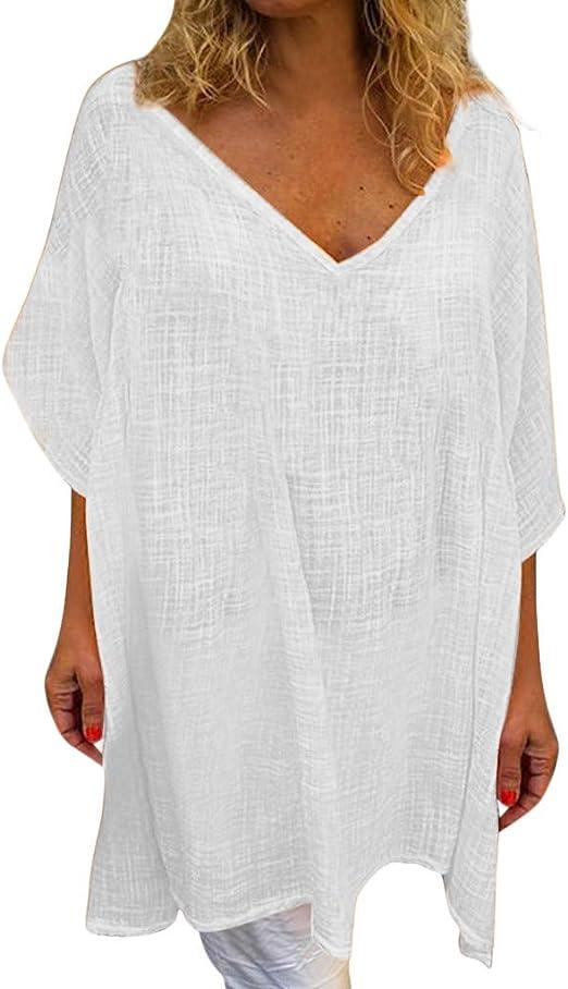 Berimaterry Camisa Casual Mujer Vestido Blusa Encaje Túnico Shirt Suelto Camiseta Manga Corta Mujeres Casual Tallas Grandes Suelto Casual Redondo Cuello Color Sólido Túnica Tops de Verano Blusas: Amazon.es: Ropa y accesorios
