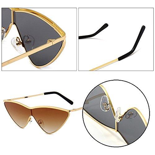 Lentille Or lunettes soleil Cadre polarisées UV400 de Femmes protection Brown non de Wayfarer Dintang lunettes Cateye Eyewear pa4qOwT