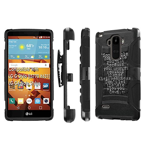 Click to buy LG G Stylo [LS 770 H631], [NakedShield] [Black/Black] Holster Armor Tough Case - [Strength Weakness Hate] for LG G Stylo LS770 - From only $12.79