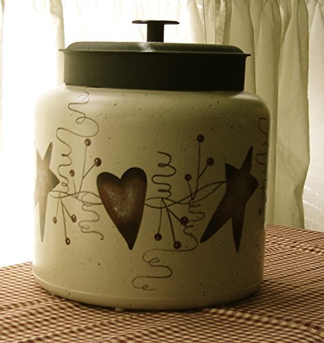 Rusty Heart (Primitive Country Decor Hand Painted Rusty Tin Stars Hearts Glass Cookie Jar/Centerpiece 1.5 Gallon Made in USA)