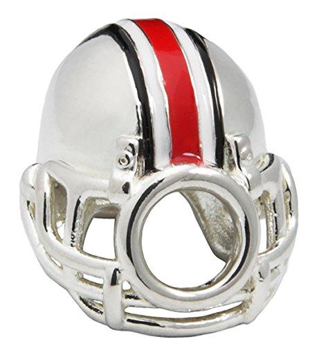 Ohio State University Charm | OSU Buckeyes - Buckeyes Football Helmet Bead Charm | Officially Licensed Ohio State University Jewelry | OSU Football | OSU Charms | OSU Gifts | Stainless Steel