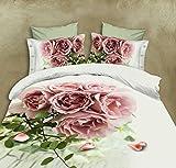 BELOMODA 5D Pink Rose Bunch Print Queen Size BedSheet Pillow Cover (Folder Pack)