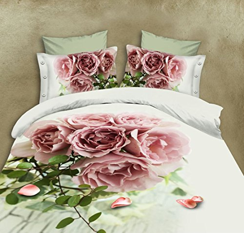 BELOMODA 5D Pink Rose Bunch Print Queen Size BedSheet Pillow Cover (Folder Pack) by BELOMODA