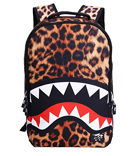 (Brown Leopard Shark Backpack, Moraner 22L 3D Print Dazzling Large School Rucksack for Boys Grils)
