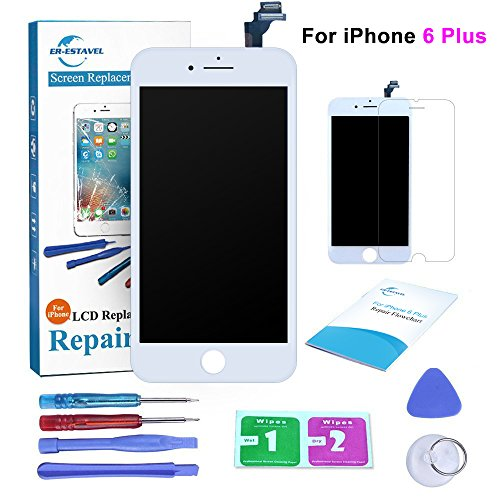 Qi-Eu LCD Display for iPhone 6 PLUS 5.5 inch Touch Screen Digitizer Replacement Assembly-White, Repair Tools Kit and Instructions are Included