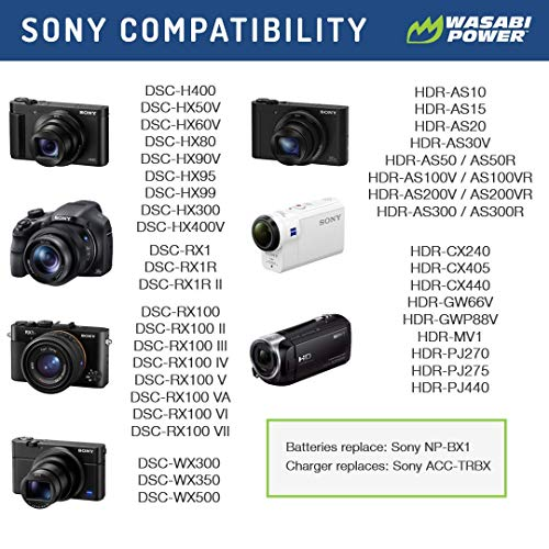 RX100 QX100 HDR-MV1 HDR-CX440 HDR-PJ275 HDR-PJ440 HX300 HDR-CX240 NP-BX1 Li-Ion Rechargeable Battery For Sony Cyber-shot HDR-CX405 HX50V Cameras and HDR-AS10 and HDR-AS15 Camcorders Microfiber Cleaning Cloth WX300 RX1