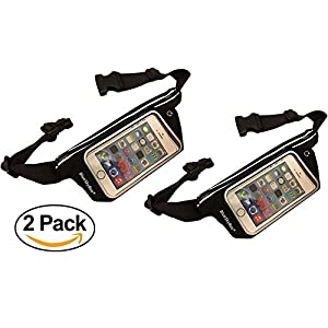 BlueSkyBos Value 2 Pack Running Belt Waist Pack Workout Waist Waistband Bag Sweatproof/Water-Resistant Light Weight for 5.7-inch cell phone (iPhone 7 6S+ Galaxy S6 S7) with Touch Screen (Black, Twin)