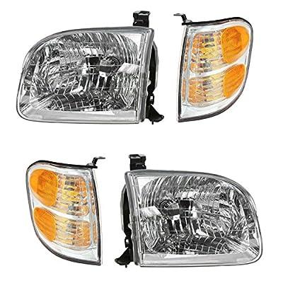 Headlights & Parking Corner Lights Left & Right Kit Set for Tundra Sequoia: Automotive