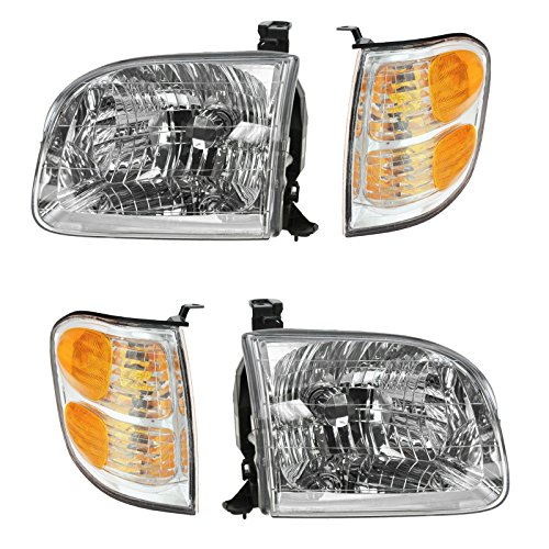 Headlights & Parking Corner Lights Left & Right Kit Set for Tundra Sequoia