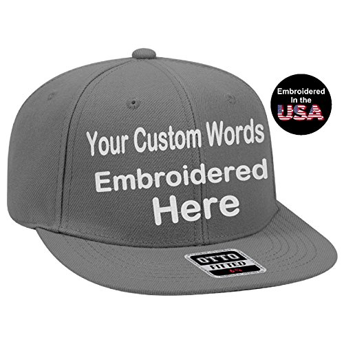 UNAMEIT Custom Text Embroidered Fitted Hat. Fitted by Size Flat Bill Otto Cap. (7 5/8, Charcoal - Embroidered Hat Wool