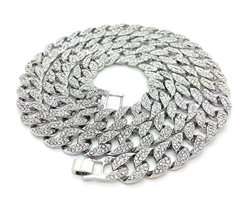 Shiny Jewelers USA Mens Iced Out Hip Hop Silver Tone CZ Miami Cuban Link Chain Choker Necklace 5