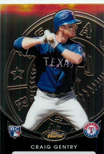 2010 Topps Finest Baseball Card #144 Craig Gentry Texas Rangers Rookie Card - Mint Condition - Shipped in Protective ScrewDown Display Case!