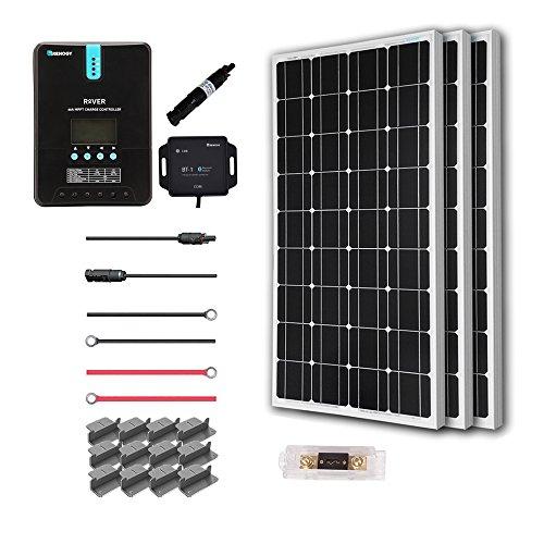 Renogy 300 Watt 12 Volt Off Grid Solar Premium Kit with Monocrystalline Solar Panel and 40A MPPT Rover Controller