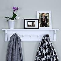 Ballucci Floating Coat and Hat Wall Shelf Rack, 5 Pegs Hook, Black & White