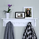 "Ballucci Floating Coat and Hat Wall Shelf Rack, 5 Pegs Hook, 24"", White"