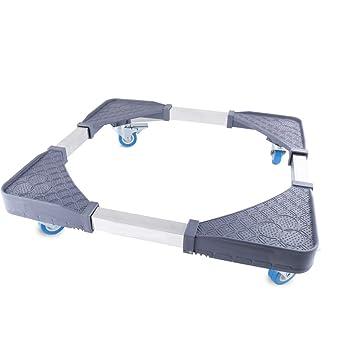 Base móvil multifuncional ajustable con 4 ruedas giratorias de goma para lavadora y secadora