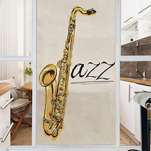 Decorative Window Film,No Glue Frosted Privacy Film,Stained Glass Door Film,Classic Painting of Jazz Saxophone Print on Plain Background Vintage Style Band Deco,for Home & Office,23.6In. by 78.7In Yel