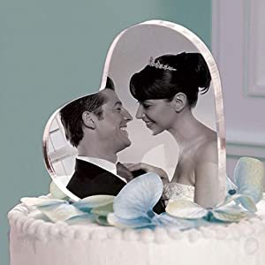 Cake Topper décor Sweet Double Sided Heart Frame Acrylic Photo Picture Frames Clear Glass Block Premium Pack Desktop Horizontal Office Frameless Photos Inexpensive Format Minimal