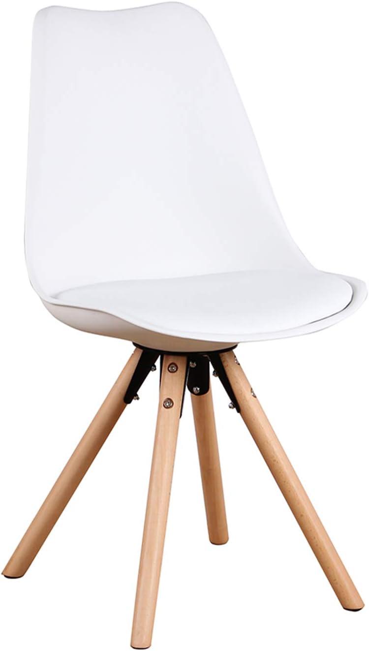 GroBKau Set di 6 Sedie da Pranzo con Sedile Imbottito Bianca Base in Metallo Solido e Gambe in Legno di Faggio
