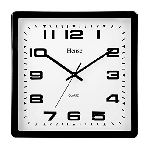 Modern Square Clock (HENSE Big Modern Concise Design Office Big Numbers Ultra Mute Silent Quartz Movement Metal Square Wall Clock HW07 (HW07)