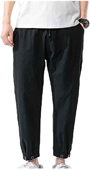 VITryst Men Big & Tall Cotton Linen Loose Fit Harem Summer Relaxed-Fit Pants