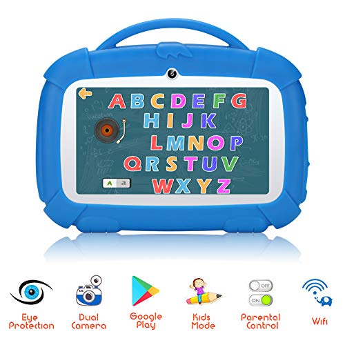 Padgene Kids Tablet 7 Inch,Android 9.0 Parental Control Kids Mode Pre-Installed WiFi Tablet Learning Games Camera IPS HD Display 1 GB+16GB with Kid-Proof Case (7 Inch, Blue)