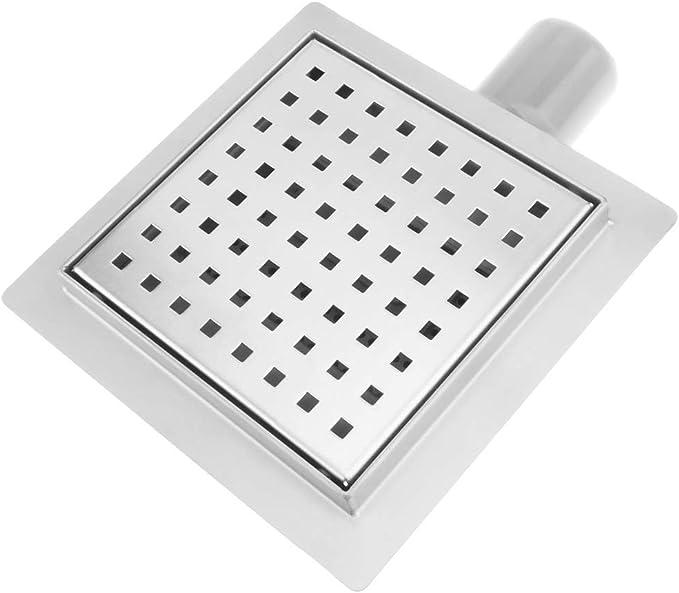 Caniveau de Drainage de Douche carr/é 15 cm en Acier Inoxydable avec Grille PrimeMatik