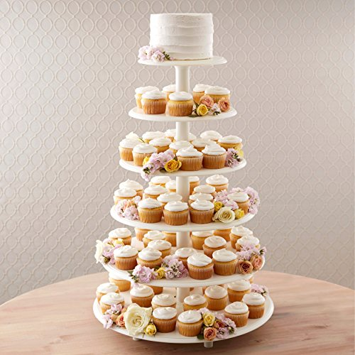 Wilton Towering Tiers Cupcake and Dessert Stand, Great for Displaying Cupcakes, Danishes and Your Favorite Hors d'Oeuvres, White, 3-foot, 28-Piece by Wilton (Image #3)