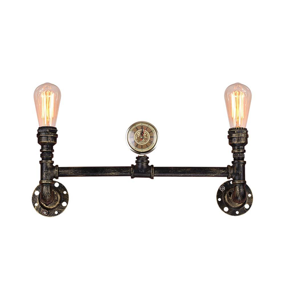 Wandleuchte Industrielle Wind Wandleuchte Kreative Persönlichkeit Gang Schmiedeeisen Rohrform Lampe Retro Doppelkopf Wohnzimmer Schlafzimmer Nachtwandleuchte DE