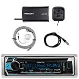 Kenwood Single DIN Bluetooth In-Dash CD AM/FM Marine Stereo Receiver, SiriusXM Satellite Radio Tuner, Shakespeare Galaxy Antenna, Enrock Marine Antenna