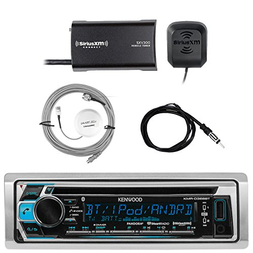 Kenwood Single DIN Bluetooth In-Dash CD AM/FM Marine Stereo Receiver, SiriusXM Satellite Radio Tuner, Shakespeare Galaxy Antenna, Enrock Marine Antenna by EnrockMarineBundle
